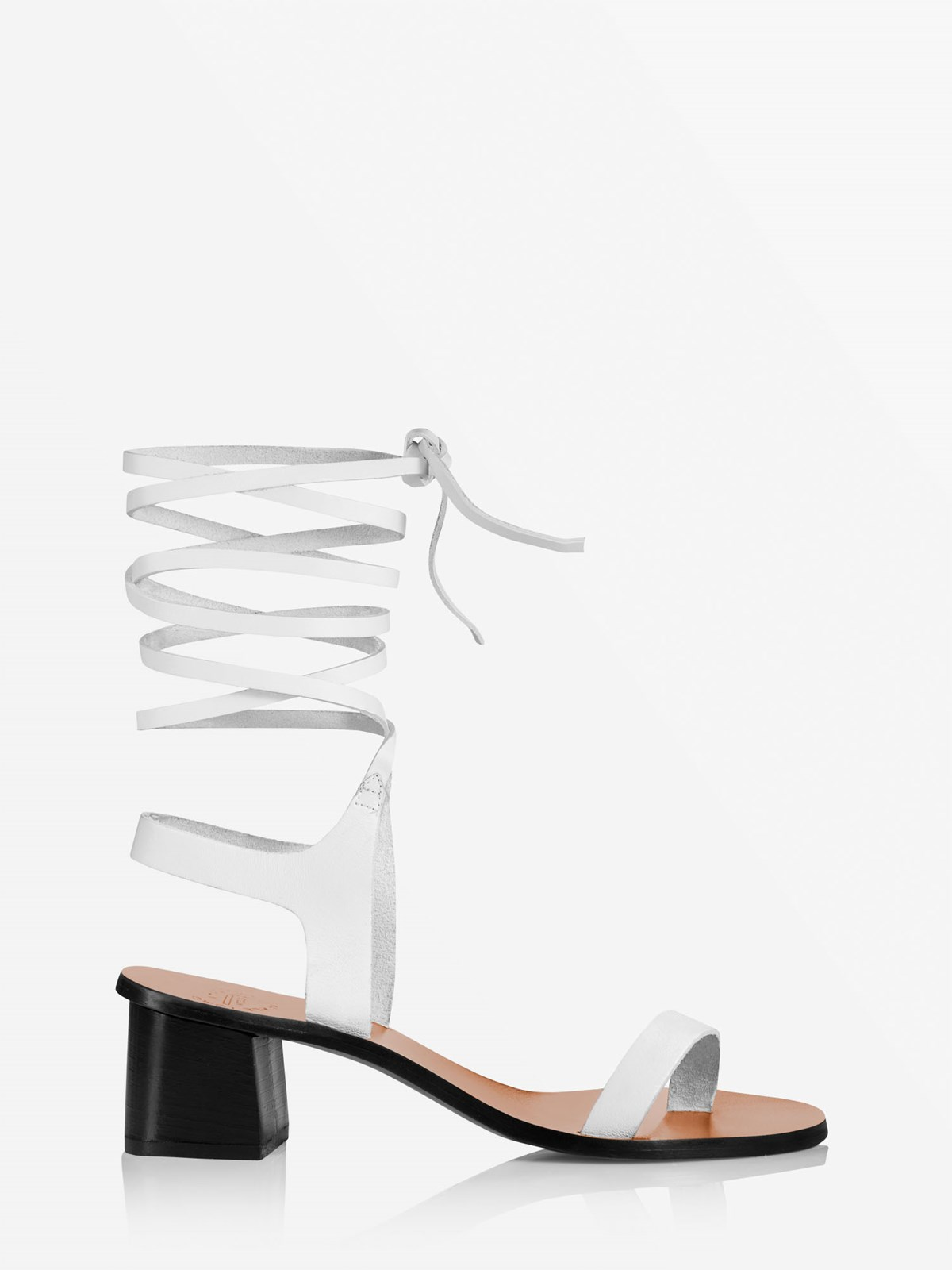 Canda Ice White Ankle strap heels