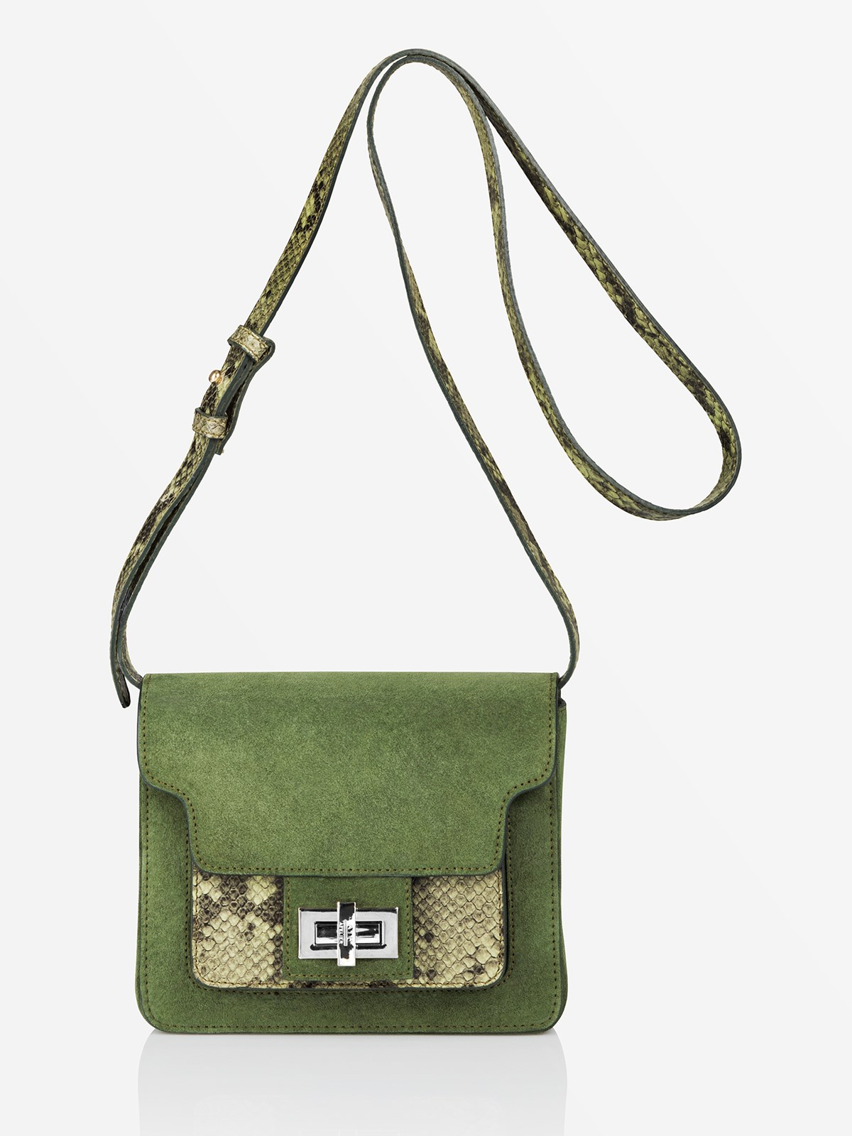 Suede/Printed Snake Aiale Clover Green Suede/Printed Snake