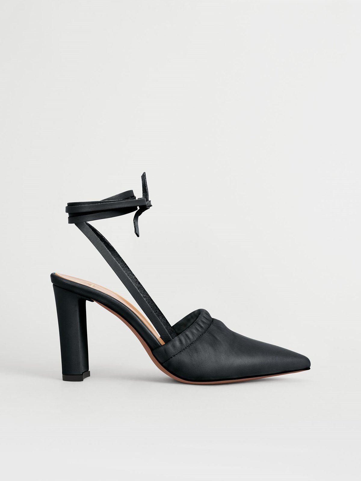 Maida Black Ankle strap heels