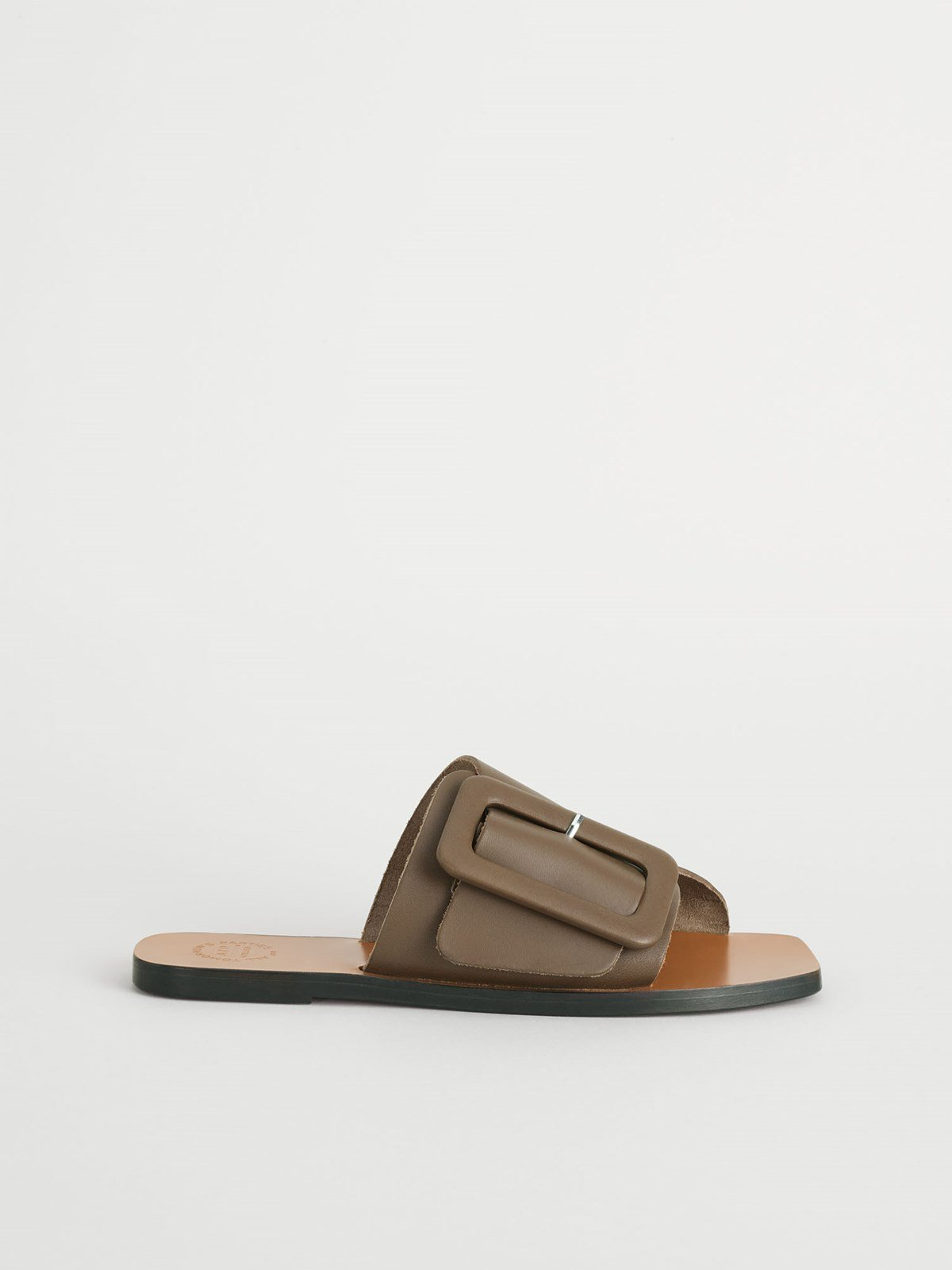 Ceci Khaki Brown Flat sandals