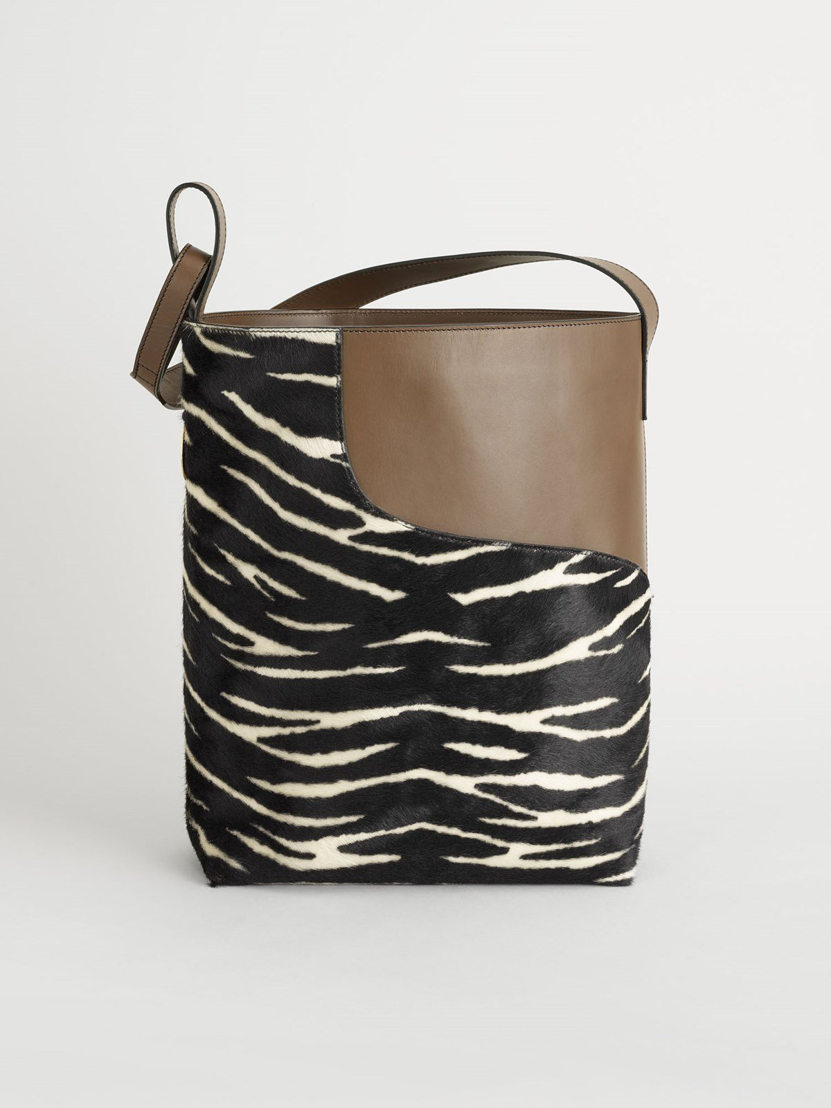 Pienza Black/Khaki Brown Printed Zebra Pony/Vacchetta
