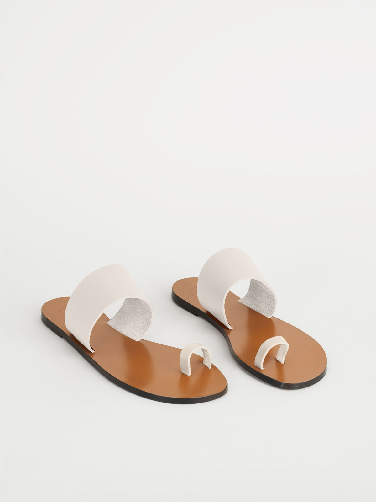Astrid Ice White Flat Sandals