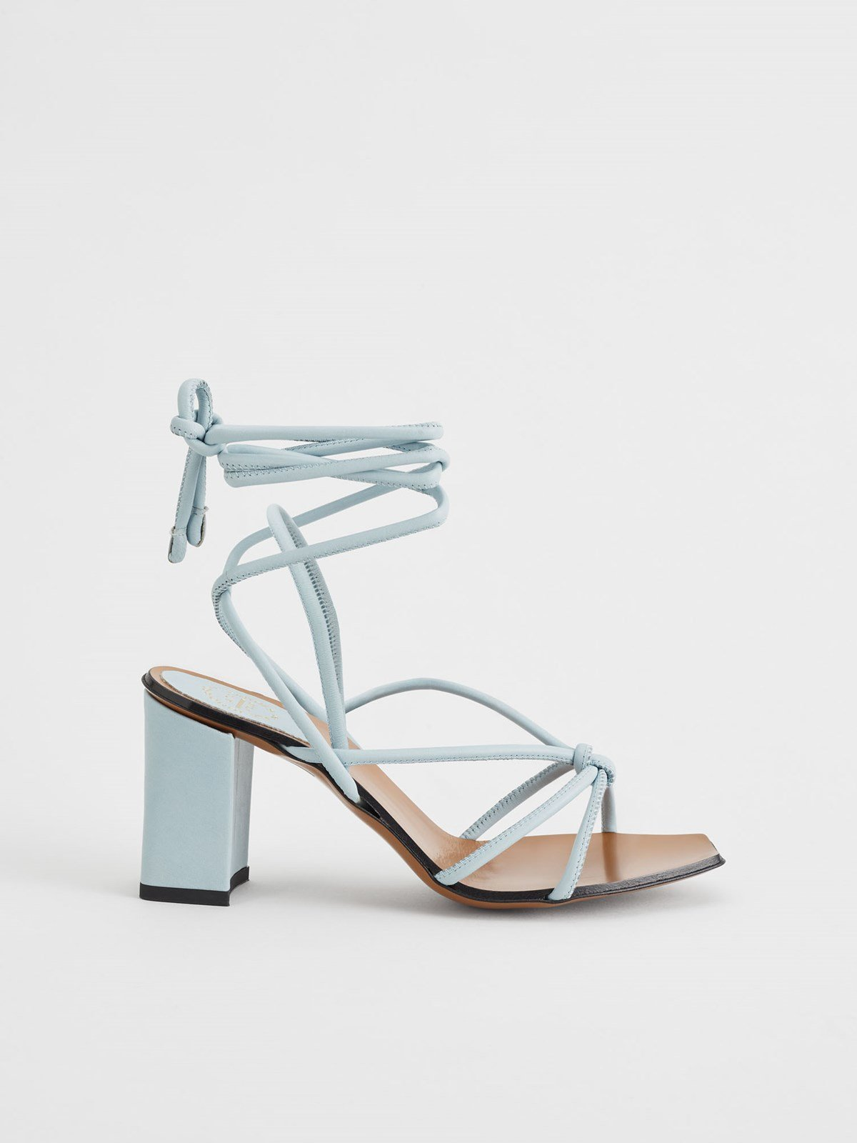 Andria Light Blue Ankle Strap Heels